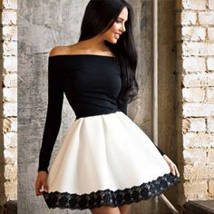 Lace long-sleeved stitching dress