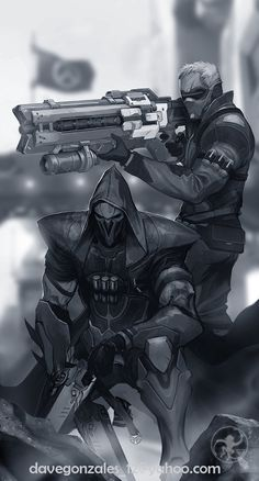 Reaper and Soldier 76 of Overwatch (WIP) by turpentine-08