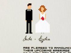 """Funny wedding invitation set - """"Pixel That""""  haha Jon would enjoy something nerdy like this"""