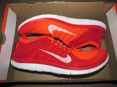 Nike Free Flyknit 4.0 Mens Running Shoes 13 Bright Crimson Red 631053 601 #Nike #RunningCrossTraining