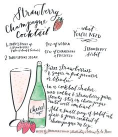 Strawberry Champagne Cocktail #Recipe- We'll need to keep the guests hydrated!!! So plenty of classy cocktails!!!