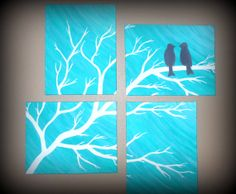 4-11x14 bird multiple canvases. Made to Order. Can be made in any color.