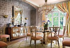 Traditional Dining Room by Mario Buatta in Palm Beach, Florida