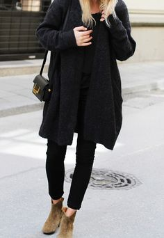 Fall Fashion 2014. All back in Acne Jeans and Isabel Marant boots. Loving this oversized coat. ::M::