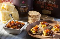 Savor your sweet and savoury moment with our Dobbies Fabulous Farmhouse Chutney, and Dobbies Delicately Flavoured Cheese Flavoured Oat Cakes - yum! Dobby, Chutney, Food And Drink, Farmhouse, Cheese, Cake, Sweet, Candy, Kuchen