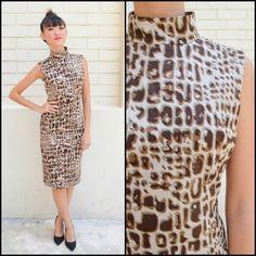 1980 Vintage Dress/ Animal Instinct Dress/ Small Dress/ Brown Dress/ Japanese Vintage/ Cocktail Dress/ Turtle Neck Dress/ Animal Print Dress by HEIRESSxVintage on Etsy