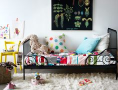 "IKEA Minnen bed, my #1 choice for the new ""big girl"" bed. It can be toddler size it twin. Only 9 inches from the ground. And most importantly - cute as a button!"