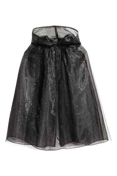 Fancy dress cape in glittery tulle with a hood and a hook and loop fastening at the neck. Cape Dress, Black Kids, Little Princess, Fancy Dress, Skater Skirt, Tulle, Costumes, Formal Dresses, Skirts