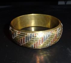 Vintage Tri-Color Woven Metal Bangle Bracelet
