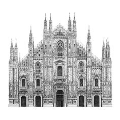 The Intricate Architecture Of Oxford University San Simeone Piccolo In Venice Milan Cathedral The Duomo In Florence St Pauls Cathedral London Street View In Vienna Canterbury Street London Houses Source Duomo Milano, Milan Duomo, Building Drawing, Building Sketch, Cathedral Architecture, Gothic Architecture, Sketch Architecture, Architecture Drawing Sketchbooks, Milan Cathedral