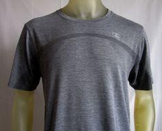 Champion Mens PowerTrain Short Sleeve T Shirt Gray Mesh Large  #Champion #BasicTee