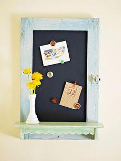 20 ways to repurpose kitchen cabinet doorsCupboard Door-gone-Art Desk @ icandyhandmadeAwesome kids' wall peg board @ ModPodge Rocks