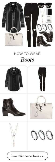 """Style #10003"" by vany-alvarado on Polyvore featuring Topshop, Equipment, Yves Saint Laurent, Gypsy Warrior, Chanel and DesignSix"