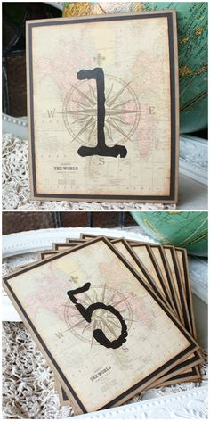 Destination  Antique World Map and Compass Table numbers | Travel themed Wedding| Sunshine and Ravioli