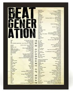 Beatnik - The Beat Generation - Typography Poster - A3 / 16.5 x 11.7 inches - Inspirational Quote. £15.00, via Etsy.