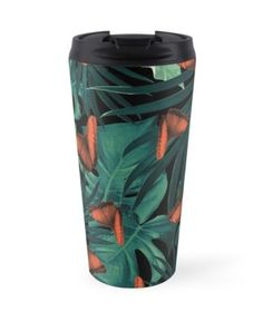 """Tropical Butterfly Jungle Night Leaves Pattern #2 #tropical #decor #art"" Travel Mugs by anitabellajantz 