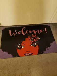 "This customer shared with us her ""Welcome"" floor mat. It features the art of Atlanta based artist Kiwi McDowell. Looks great! #blackart #blackgirlsrock #naturalhair #afro #homedecor..."