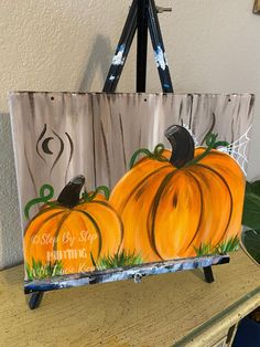 Pumpkin Canvas Painting, Autumn Painting, Diy Canvas Art, Tole Painting, Autumn Art, Diy Painting, Canvas Art Paintings, Fall Paintings, Canvas Crafts