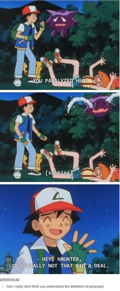 Misty is Paralyzed! It Can't Move! Wild Misty is Paralyzed! It Can't Move!Wild Misty is Paralyzed! It Can't Move! Gif Pokemon, Pokemon Comics, Pokemon Funny, Pokemon Memes, Pokemon Emolga, Pokemon Theory, Ghost Pokemon, Tumblr Funny, Funny Memes