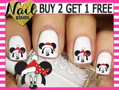 60 Nail Decals - Mickey & Minnie Mouse Faces Ears SANTA HAT - Christmas - RED Polka Dot Bow- Disney Nail Art by NailGlamsNailDecals on Etsy