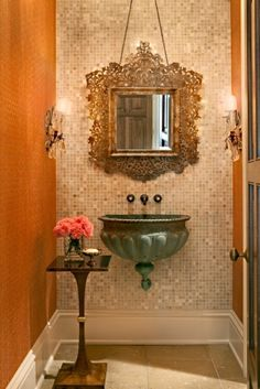 powder room - look at that sink!