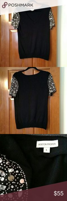 New Boston Proper Large V-Neck Jeweled Arms Top New without tags Boston Proper Large Jewels on Arms V-Neck Top made of 67% Loyocell/ 33%Nylon. Boston Proper Tops Blouses