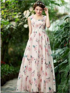 Pink rose printed chiffon dress - maxi prom dress - long bridesmaid dress-Sleeveless vest dress-beach bridesmaid dress by TDJasmine on Etsy https://www.etsy.com/listing/229986862/pink-rose-printed-chiffon-dress-maxi