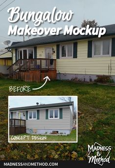 Thinking about sprucing up your house and front yard? This bungalow makeover mockup makes it easy to see what the house would look like with some paint! Interior Design Inspiration, Home Decor Inspiration, Yard Design, House Design, Outdoor Projects, Diy Projects, One Storey House, Green Shutters, Yard Maintenance