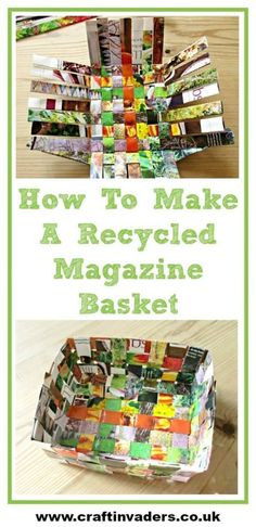 How To Make An Easy Recycled Magazine Basket is part of Easy Upcycled Crafts Tutorials - There are a few different ways you can make baskets out of recycled magazines, this basket weave design is probably the simplest and quickest Upcycled Crafts, Recycled Magazine Crafts, Recycled Paper Crafts, Recycled Art Projects, Recycled Magazines, Weaving Projects, Diy Crafts, Recycled Crafts For Kids, Recycling Projects For School