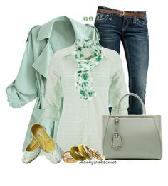 """""""Spring Mints"""" by honkytonkdancer ❤ liked on Polyvore featuring Rock Revival, maurices, Fendi, H&M, Tiffany & Co., mintgreen, shamrock and beadedflats"""