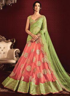 Alluring Rose Pink A Line Lehenga Choli
