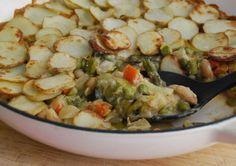 Vegetable Hot Pot - potato, asparagus, carrots, beans, peas in a creamy sauce using cream cheese, flour, and broth.