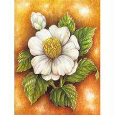 Image 3D Fleur - Grosse fleur banche sur fond 24 x 30 cm
