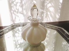 Antique Fenton White Perfume Bottle Silver Crest by AstrasShadow, $26.00