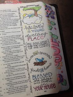 """Ps 84 - """"Dwelling Place"""" - When I picture heaven, I picture a meadow with big shady trees and a sweet babbling brook. Bible Journaling by Nola Pierce Chandler"""