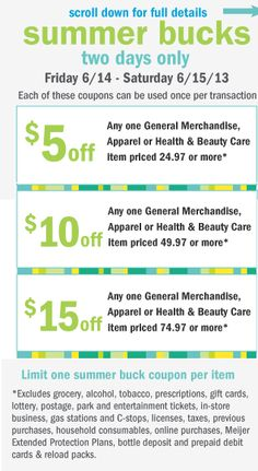 Meijer Shoppers: New mPerk ~ Save up to $15 off with Summer Bucks!