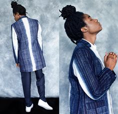Renée Bedell 2014-2015 Fall Autumn Winter Mens Lookbook Collection - Denim Jeans Indigo Laser Cut Perforated Mesh Pants Trousers Tapered Slouchy Long Sleeve Shirt iPad Case Wide Leg Palazzo Pants Outerwear Blazer Stripes Double Breasted Ornamental Art Long Coat