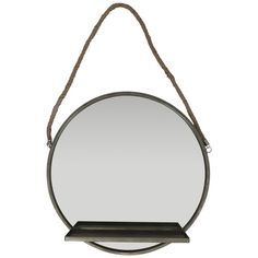 aa9ae9ecaec Lifestyle Traders Round Gun Metal Mirror With Shelf And Rope Handle