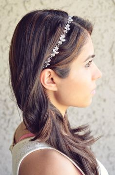 Silver Flower Headband Rhinestones Spring Summer by NaynaJewelry, $12.00 *add elastic hair tie to beautiful chain / ribbon /crochet --