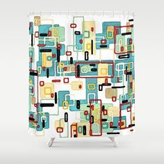 Mod  This made to order aqua and white mid century modern shower curtain is based upon my original modern art of the same title. Available shower curtain size (in inches): - 71x74  This 100% polyester shower curtain will be printed in the USA and feature a 12 buttonhole top for easy hanging. It will make a stylish addition to your modern bathroom decor.  My original art is printed onto the fabric using a technique called dye sublimation. Heat sensitive inks are first applied to the fabric…