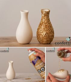 DIY How-To Full Glitter Mini Favour Vase Stages