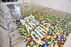 Meeting table made entirely of Legos. See video of the process here http://vimeo.com/8556008 Amazing!