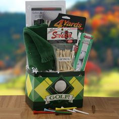 Fore Fathers Day Fathers Day Gift Basket @ Design It Yourself Gift Baskets Fathers Day Gift Basket, Boyfriend Gift Basket, Fathers Day Presents, Boyfriend Gifts, Gift Baskets For Men, Themed Gift Baskets, Raffle Baskets, Beer Basket, Silent Auction Baskets