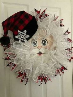 SALE … Buffalo Plaid Christmas Wreath, Santa Claus Wreath, Buffalo Plaid Santa Wreath, Santa face Wr Beautiful things to do yourself Festive Advent decorations Diy Christmas Decorations, Christmas Mesh Wreaths, Plaid Christmas, Wreath Crafts, Diy Wreath, Christmas Crafts, Christmas Ornaments, Wreath Ideas, Santa Wreath