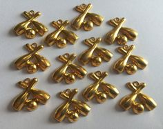 Lot of 12 Genuine Vintage 1940's Stamped Brass Bowling Pin Pendant Charms - Old Jewelry Making Findings
