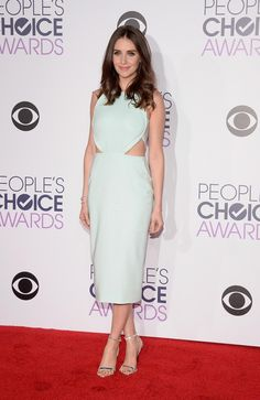 Alison Brie posed on the red carpet at People's Choice Awards 2016, before taking to the stage to present an award with Leslie Mann.