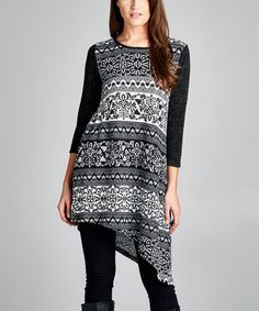 Look what I found on #zulily! Black Bohemian Asymmetrical-Hem Tunic #zulilyfinds