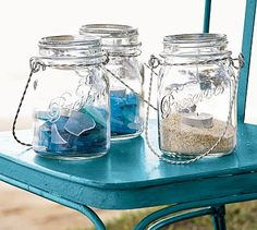 Jars with sea glass or sand with candles, for a more grown up centerpiece look.  Set on a laminated nautical map?  Table leader names, where?  How?  Ideas anyone?
