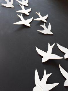 Flock 11 Porcelain ceramic wall art swallows