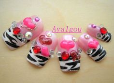 Japanese 3D fake nails zebra printed french tips with by Aya1gou, $18.50